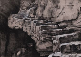 Stairs of Fear ,  70x100cm ,  Mixed Media on Paper